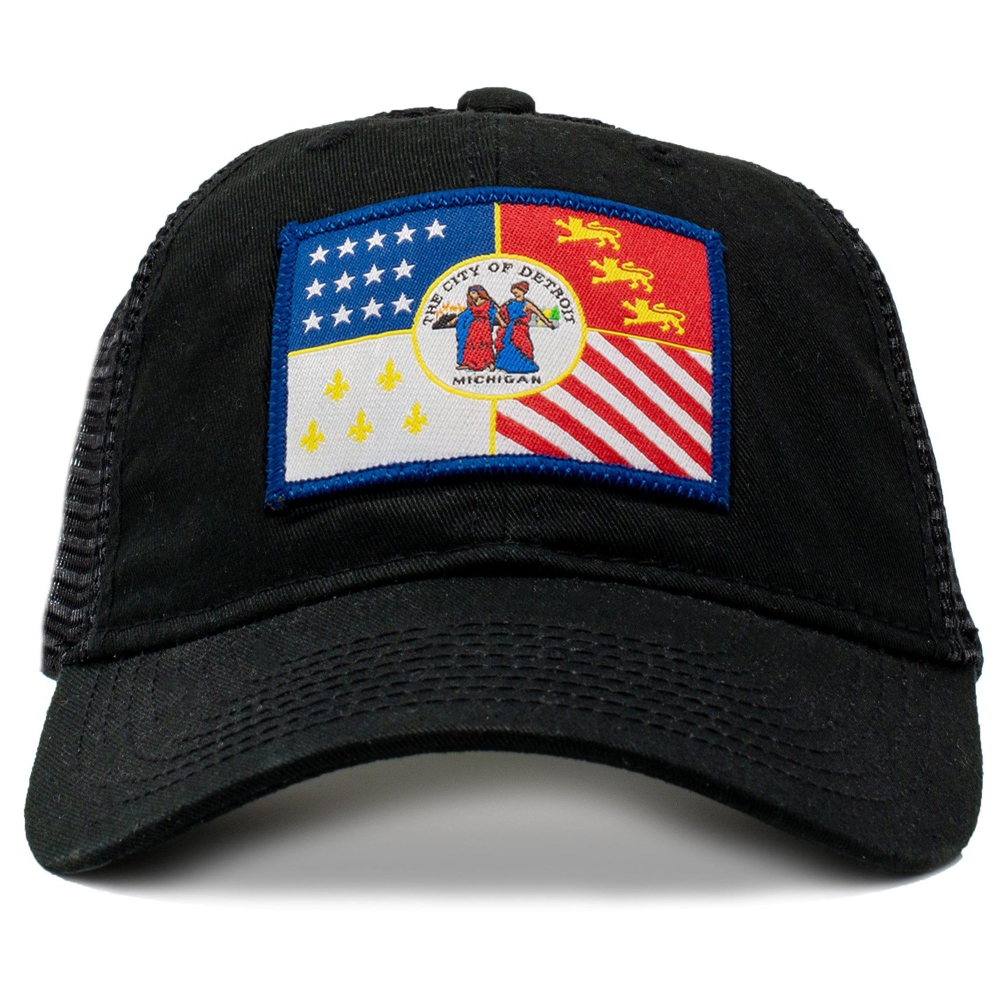 detroit baseball hat with city flag and classic looks