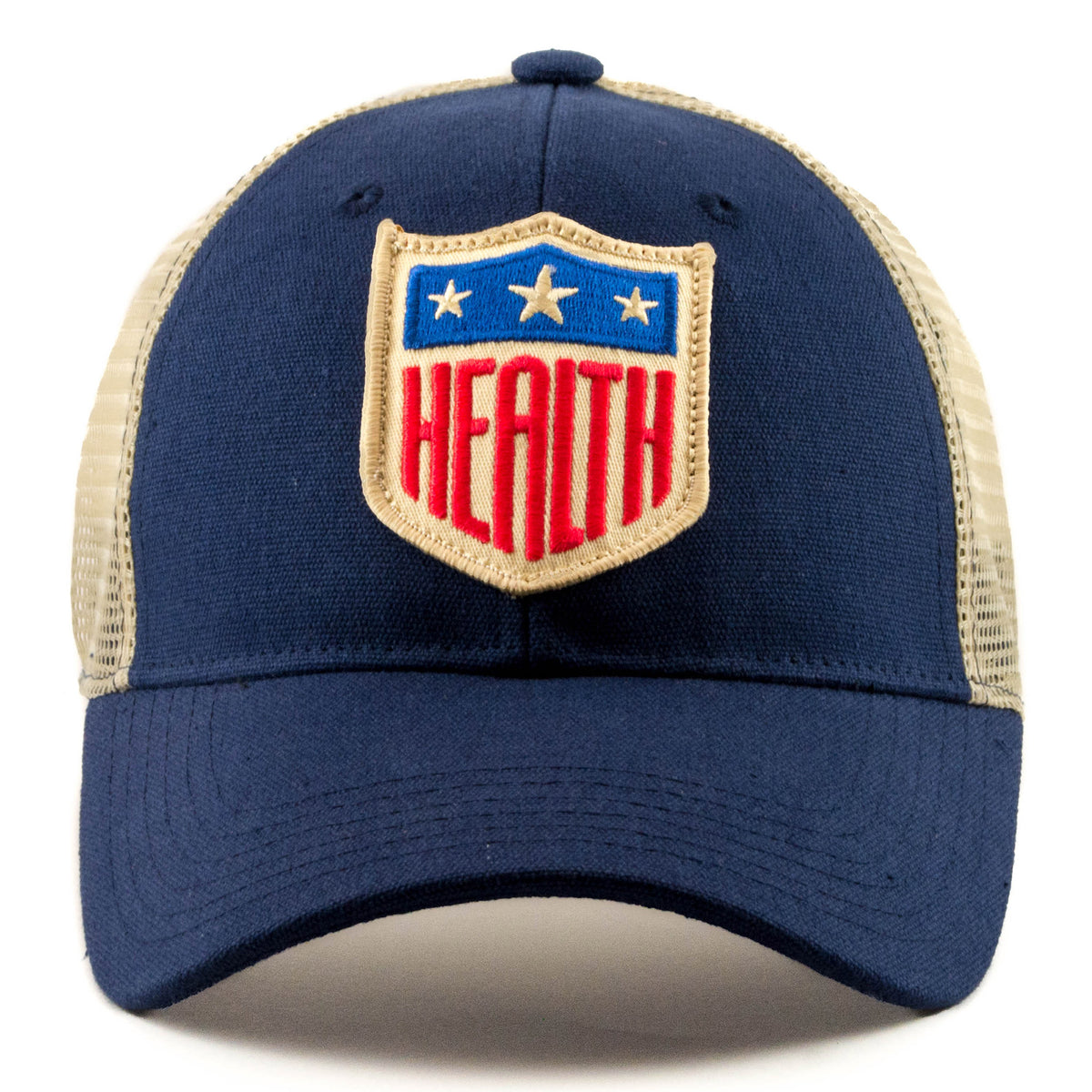 US Health Shield Patch on retro vintage mesh trucker hat
