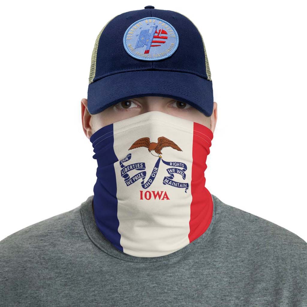 Iowa flag face mask gaiter