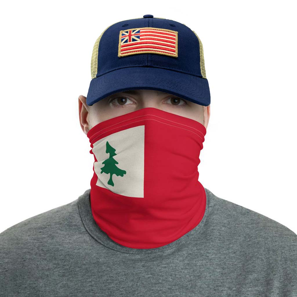 new england pine tree flag face mask gaiter