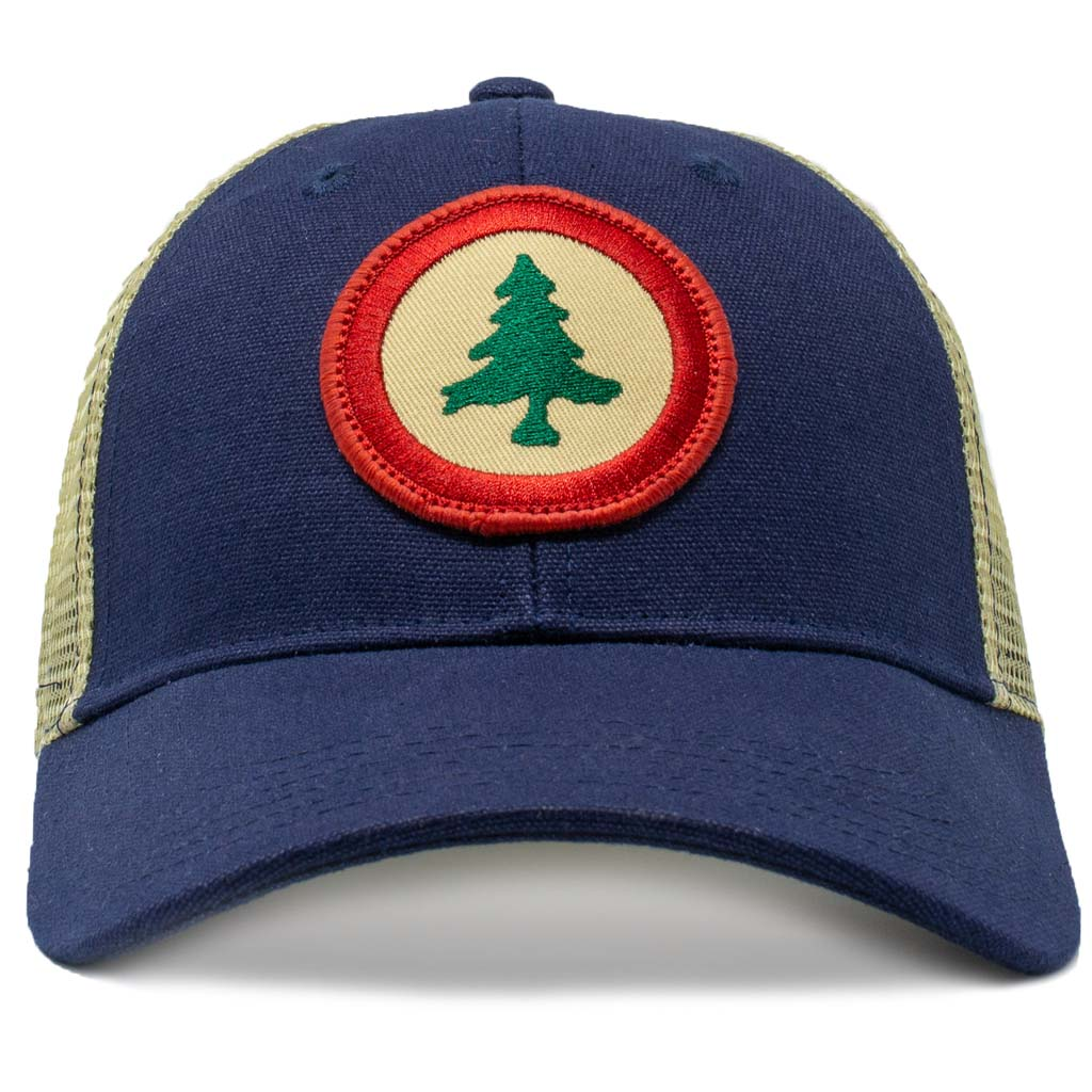 New England Pine Tree Flag Roundel Mesh Trucker Hat