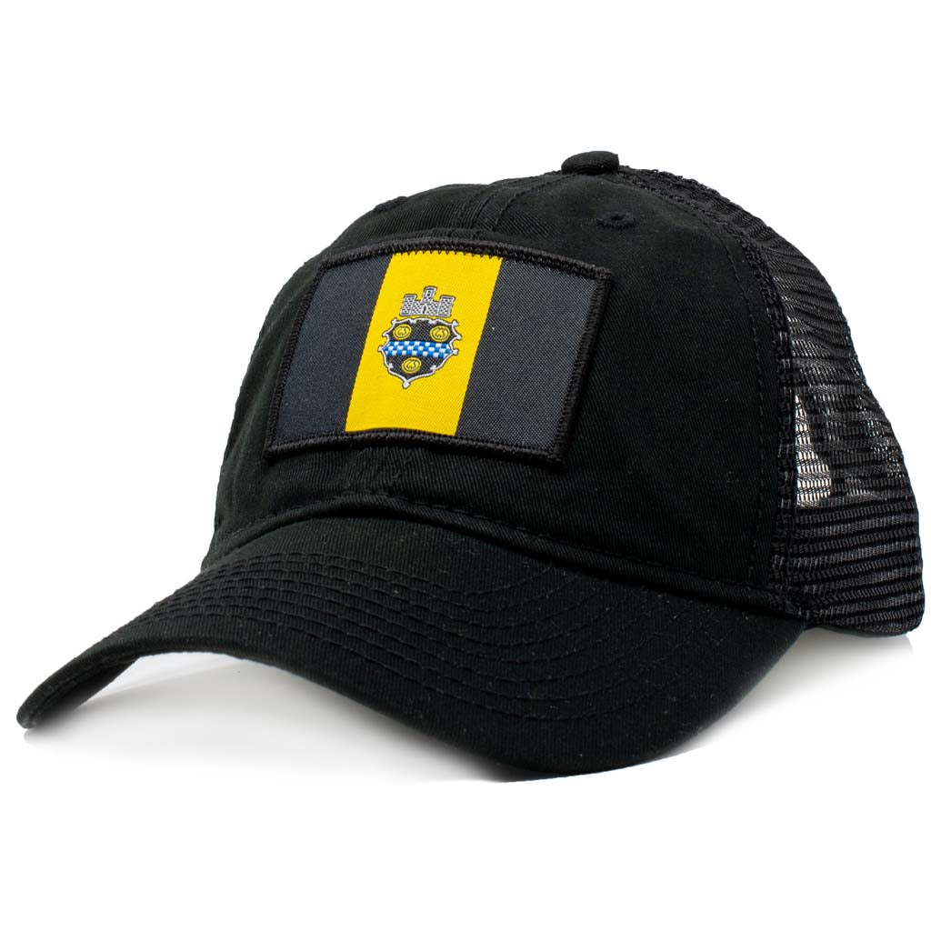 pittsburgh baseball hat with pittsburgh flag patch