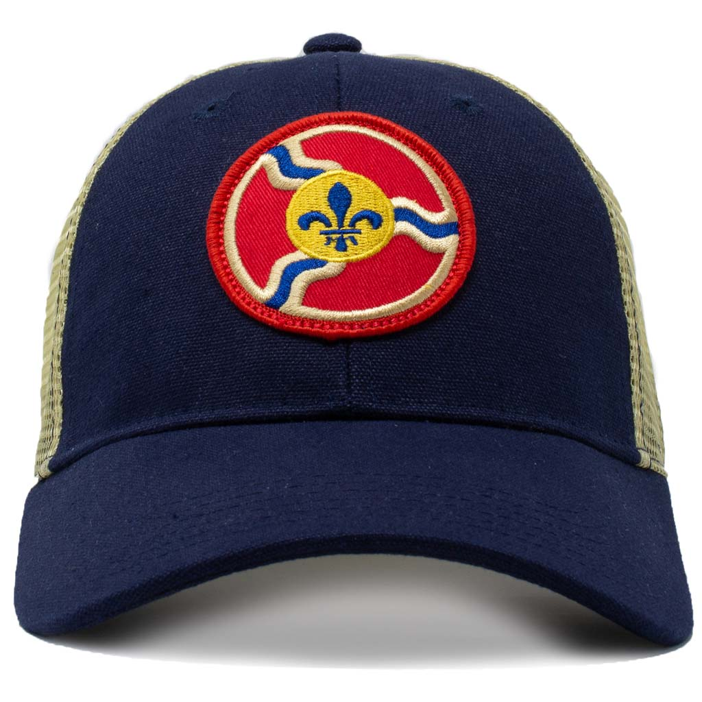 st. louis flag mesh trucker hat