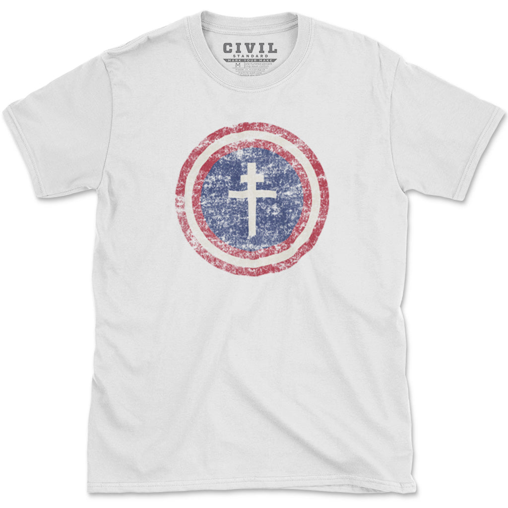 Vintage Cross of Lorraine Free America flag t-shirt