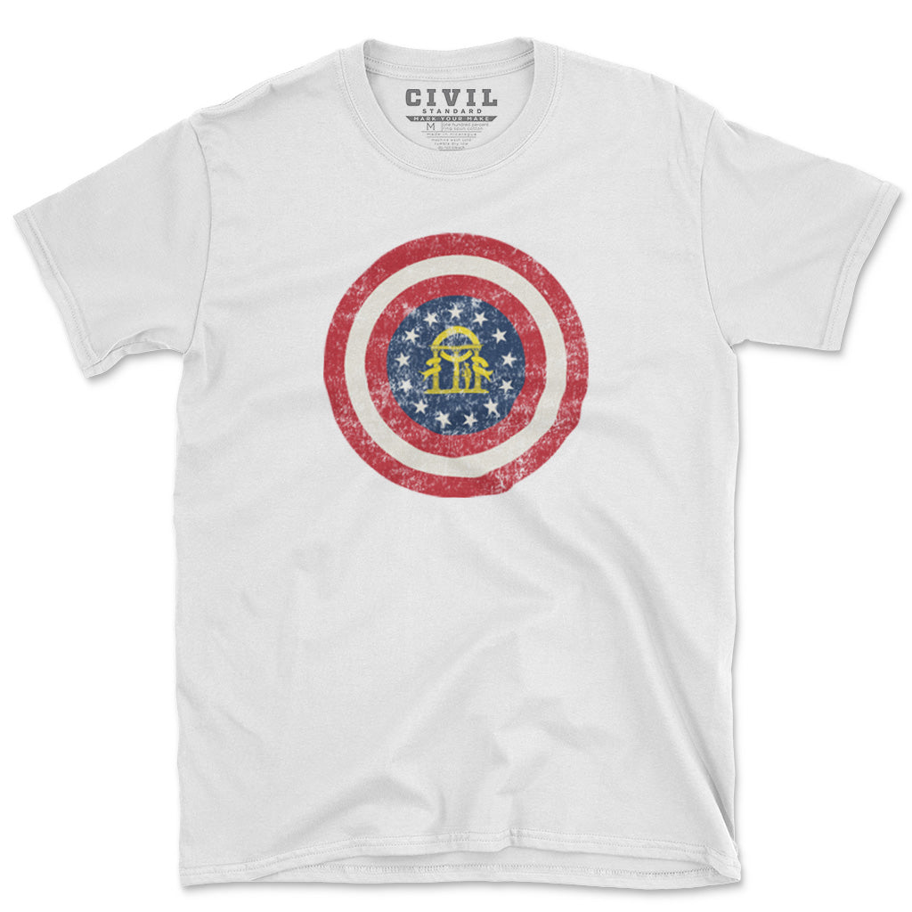 Georgia state flag roundel t-shirt grey