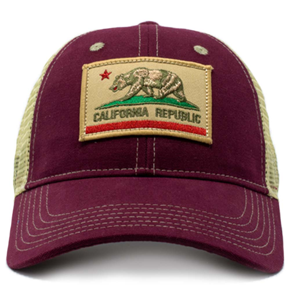 california flag mesh trucker hat, tan mesh