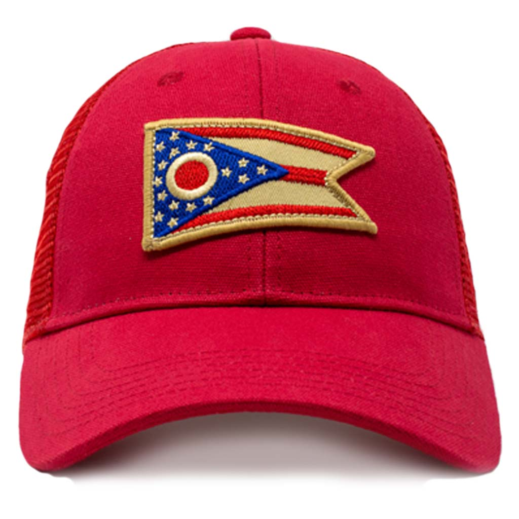 ohio flag mesh snapback red
