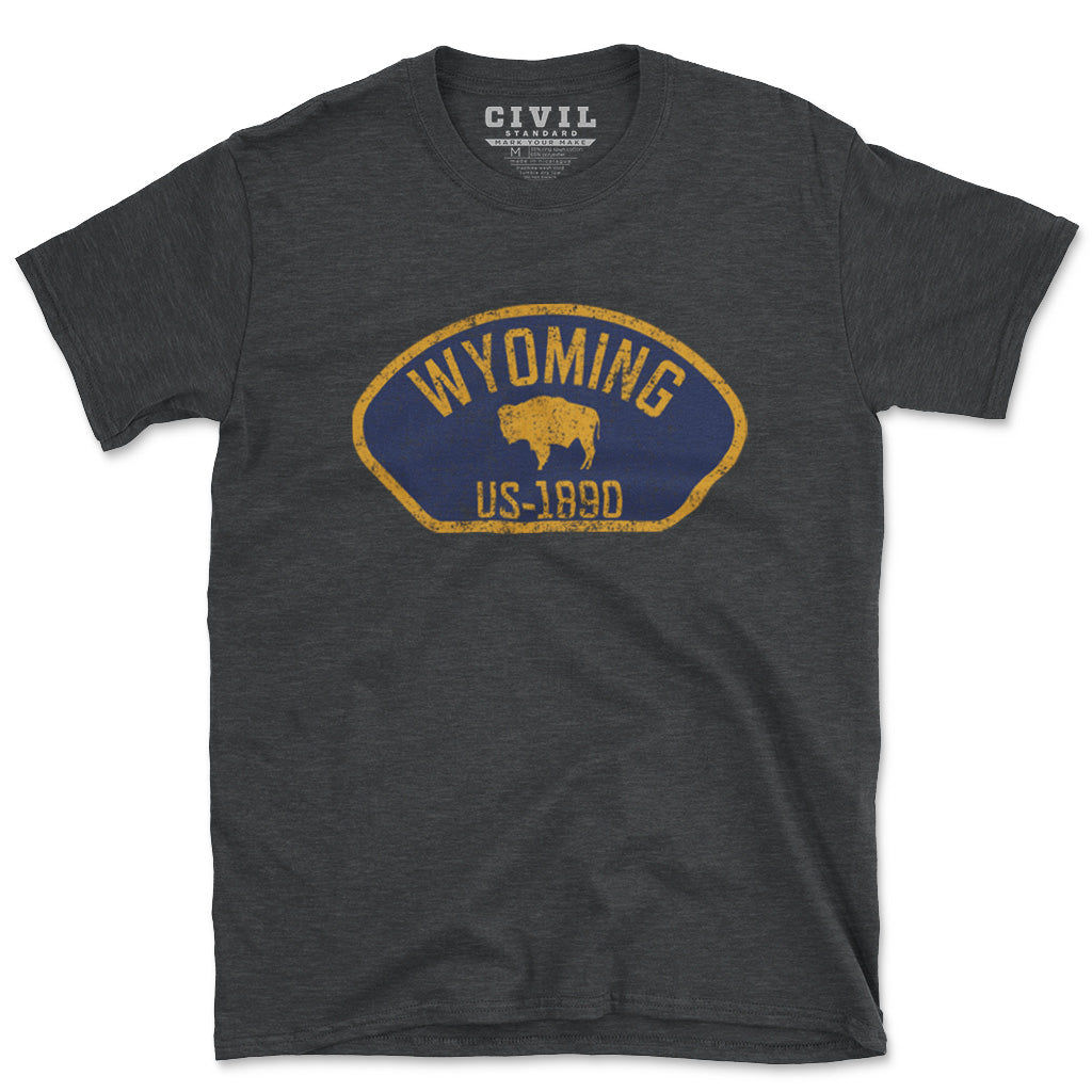 wyoming buffalo flag t shirt