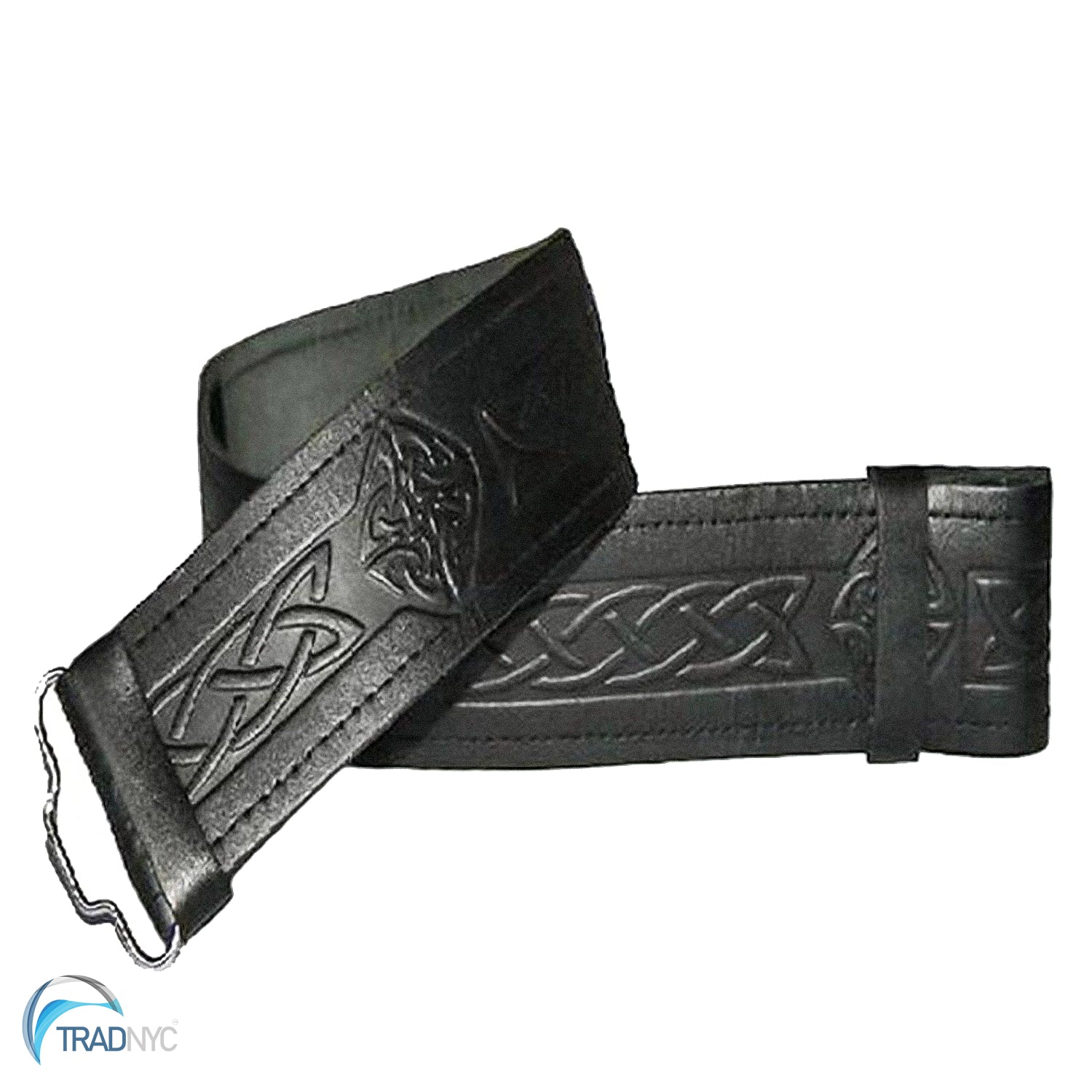 Leather Belt Pouch Black Embossed Celtic Knot Small Attaches to Trouser Belt Kilts Scottish Made