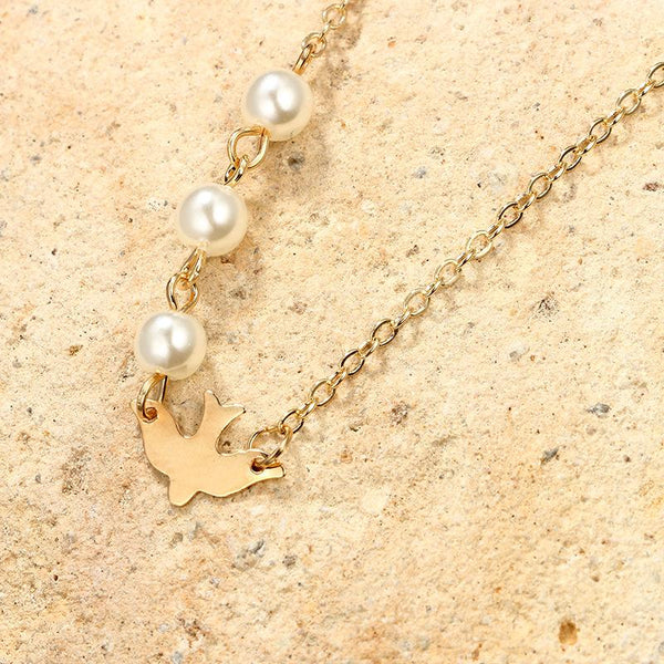 Simple Personality, Freedom, Peace, Pigeon, Pearl, Short Necklace, Necklace, Matching