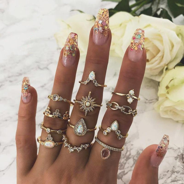 Six-Pointed Star Crown Dripping Rhinestone Inlay Ring 12-Piece Ring Ornaments
