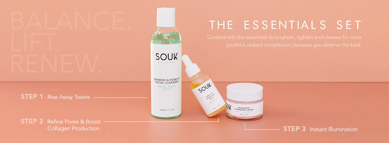 The Essentials Set by SOUK Skincare. Our 3-Step solution to brighter, tighter, and a more youthful complexion.