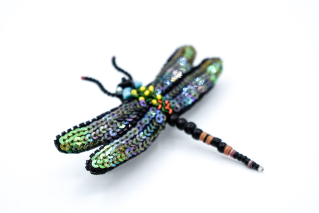 Hand Beaded Dragon Fly Barrette