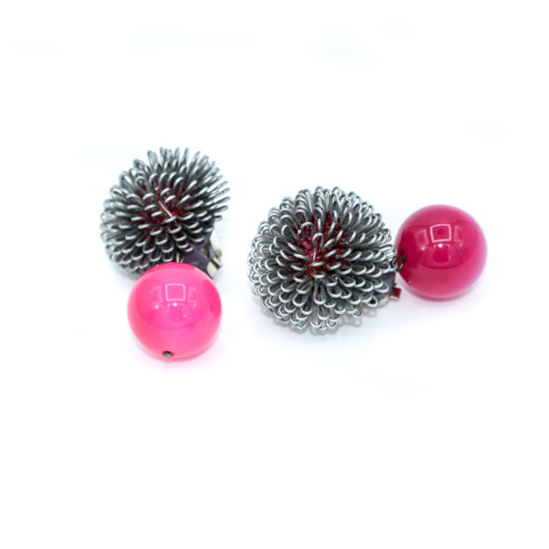 Roberto Di Castro Pom Pom Earrings with Pink Bead