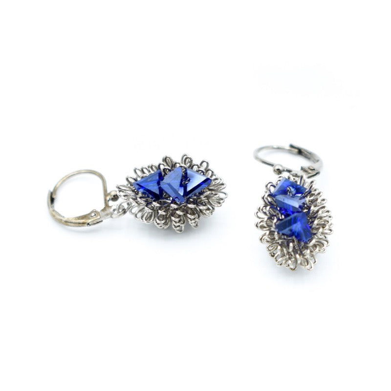 Roberto Di Castro Blue Crystal Earrings