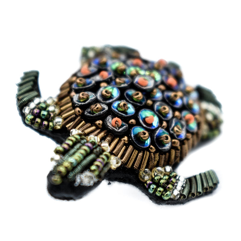 Hand Beaded Turtle Pin