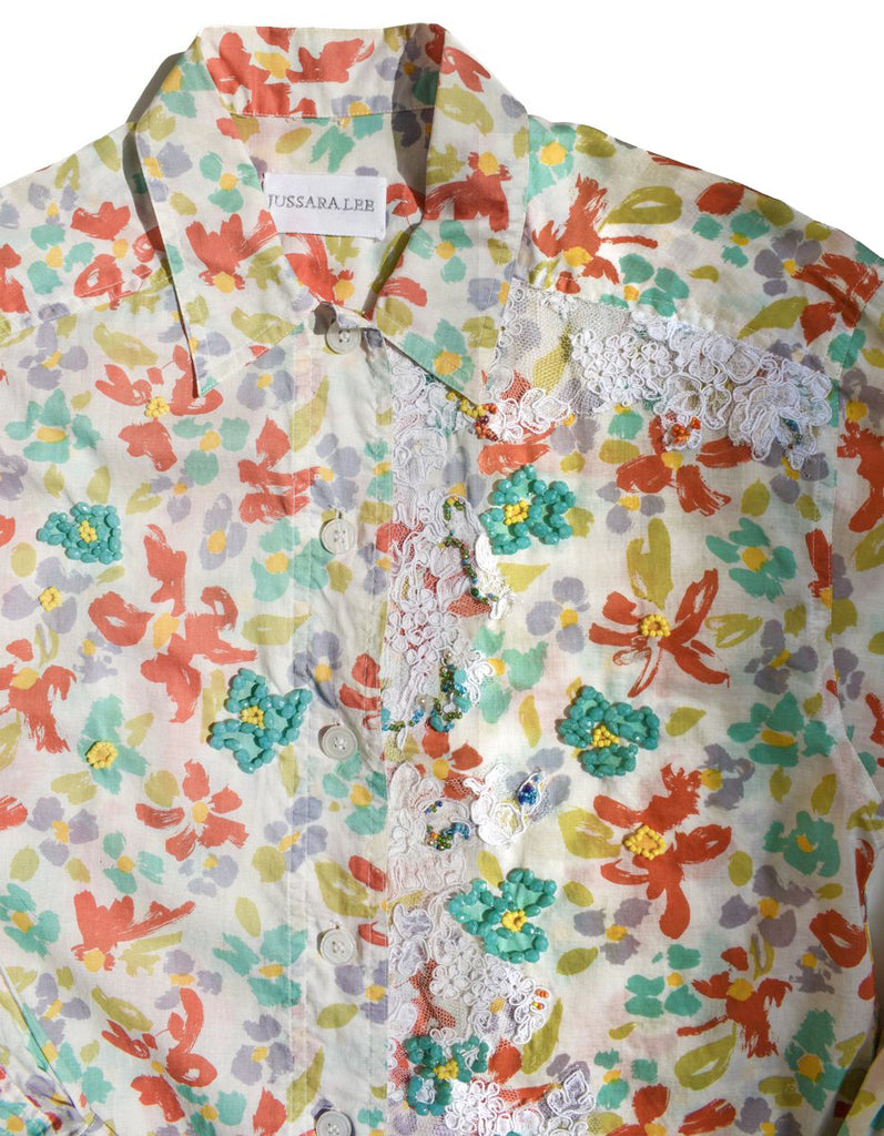 Printed Cotton Shirt with Lace and Hand Beading Size 6