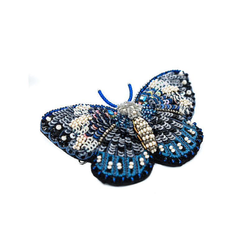 Large Hand Beaded Butterfly Hair Barrette