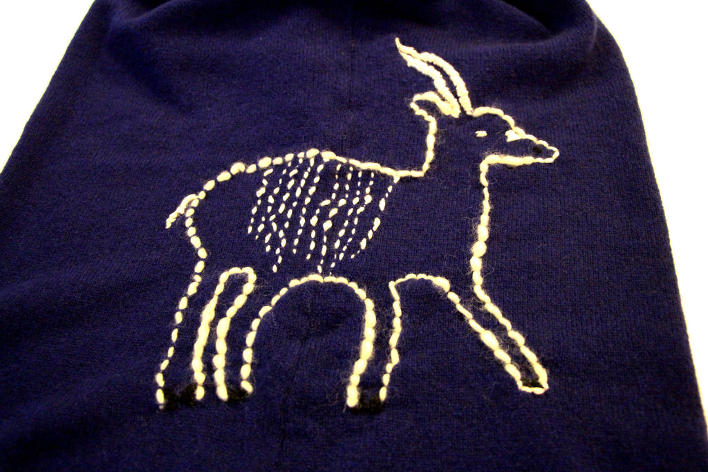 1 Ply Cashmere Turtle Neck Sweater with Hand Embroidered Saola Deer