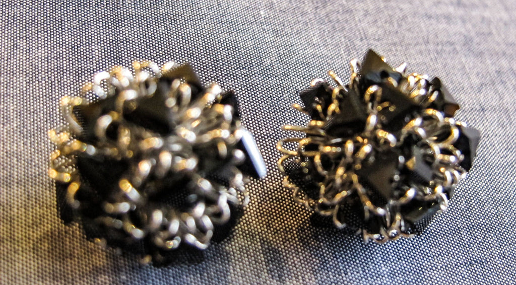 Roberto Di Castro Pom Pom Earrings with Black Crystals