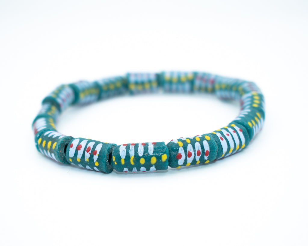 Hand Painted Trade Glass Bead Bracelet