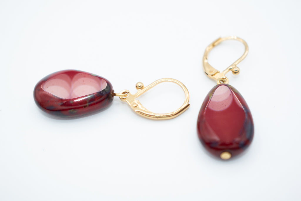 Roberto De Castro Tinted Glass Drop Earrings with Clasp