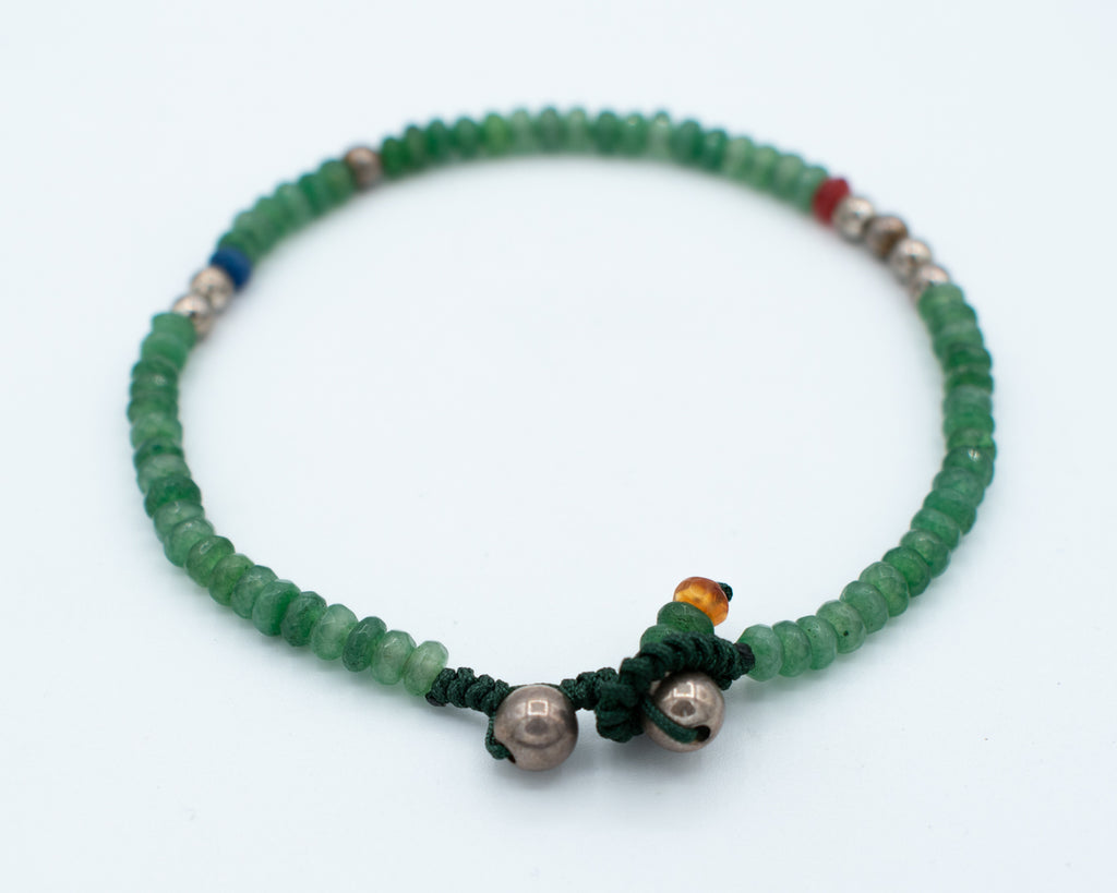 Burkindy Stearling Silver and Green Agate Beads Bracelet
