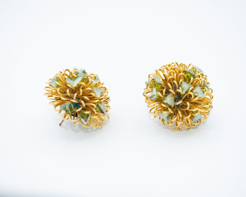 Roberto Di Castro Pom Pom Earrings with Crystals