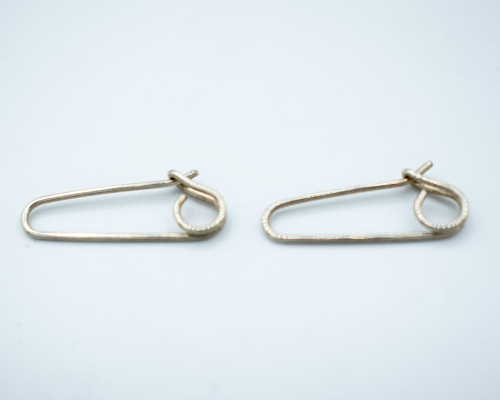 Silver Safety Pin Earrings