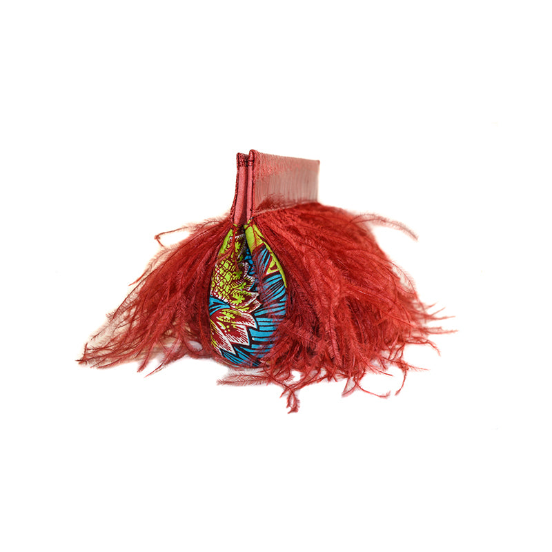 Juditha Sakinofsky Ostrich Clutch with West African Print