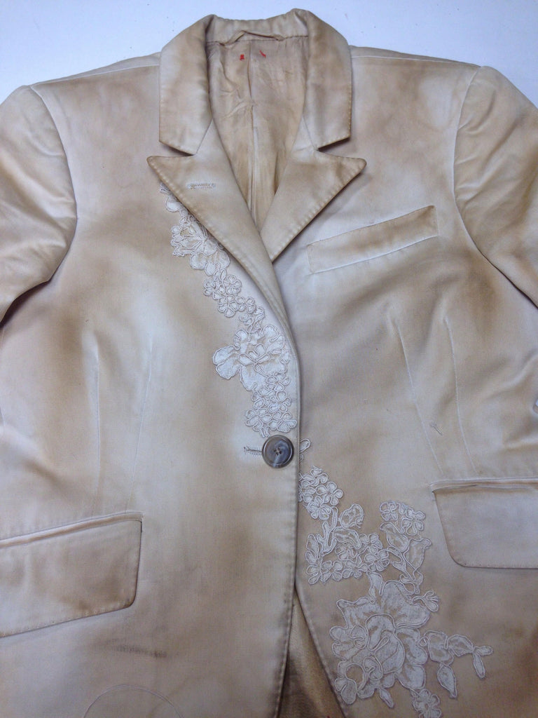 Hand Tailored Coffee Dyed Jacket with French Lace Embroidery Size S