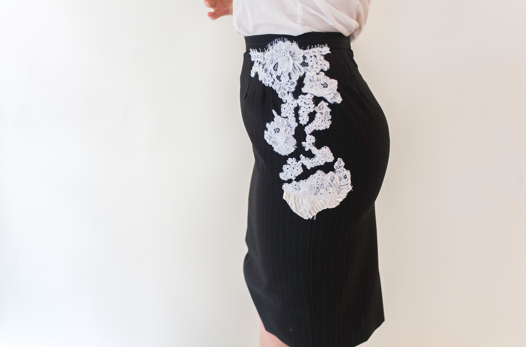 Pinstripe Skirt with Lace and Pleats