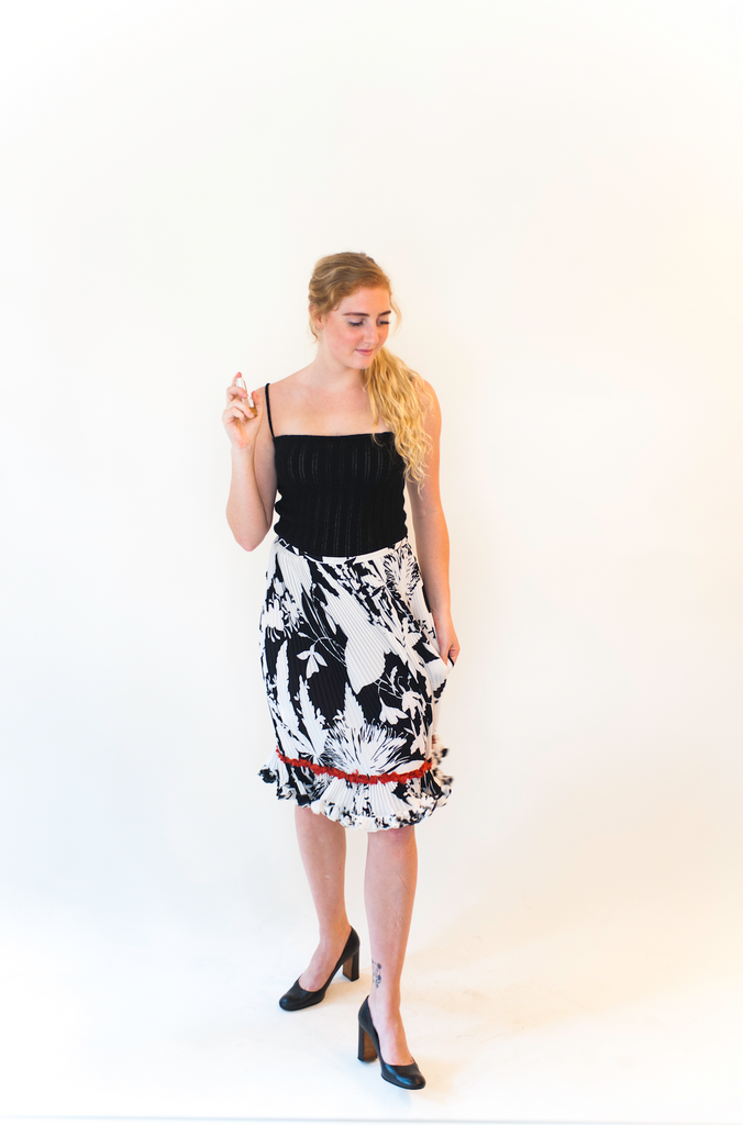 Printed Silk Skirt With Scarlet Trim