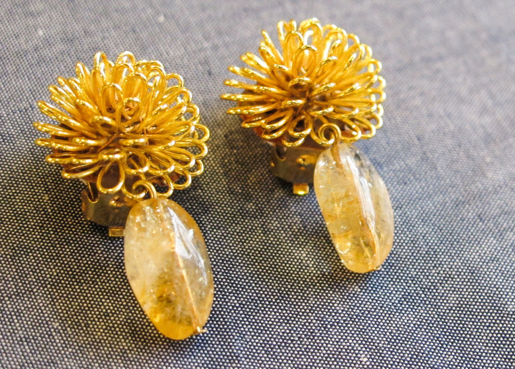 Roberto Di Castro Pom Pom Earrings with Sunflower Yellow Bead
