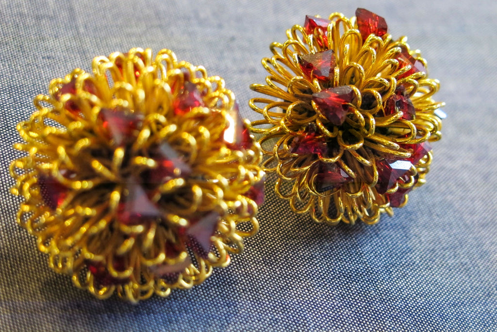 Roberto Di Castro Pom Pom Earrings with Red Crystals