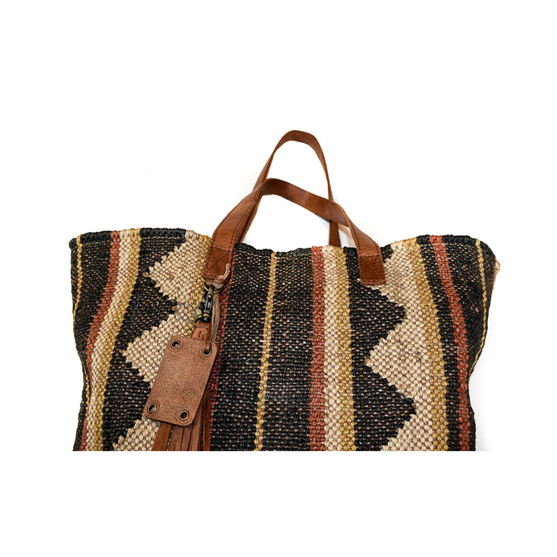 Tachkent Gabor Kilim and Leather Tote Bag