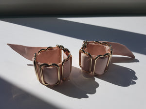 Blush pink silk and gold plated brass wrist cuffs
