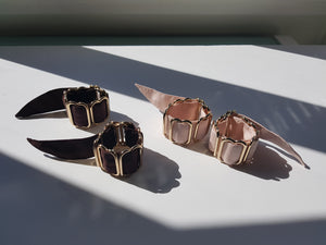 Bruise and blush silk gold plated brass wrist cuffs