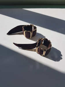 Bruise silk and gold plated brass wrist cuffs