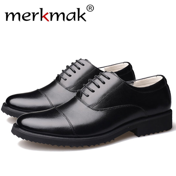 ba078fb2c Merkmak New Fashion Oxford Business Men Shoes Genuine Leather High Quality  Soft Casual Breathable Men's Flats ...