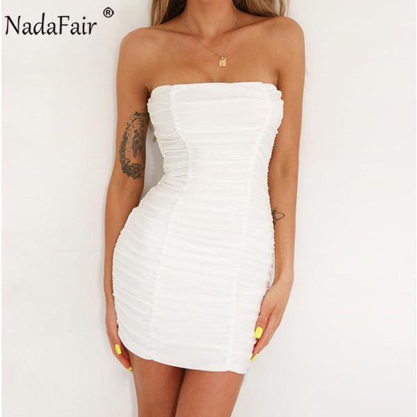 971b42540f334 Nadafair Off Shoulder Strapless Backless Wrap Summer Dress Women Sexy  Ruched Mini Bodycon Club Party Dress White