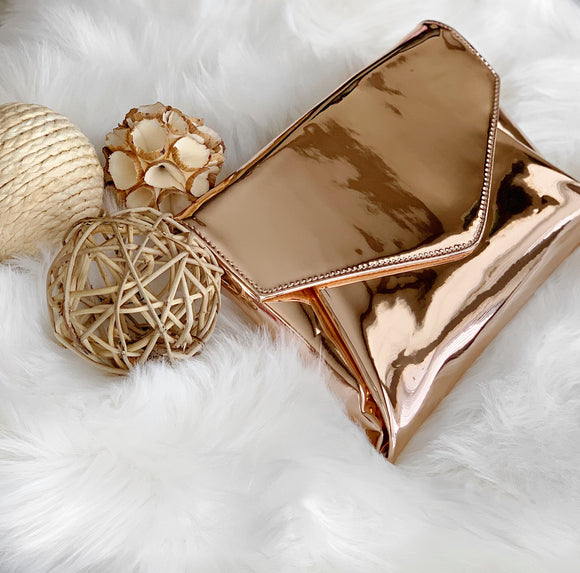 Flashy Rose Gold Clutch