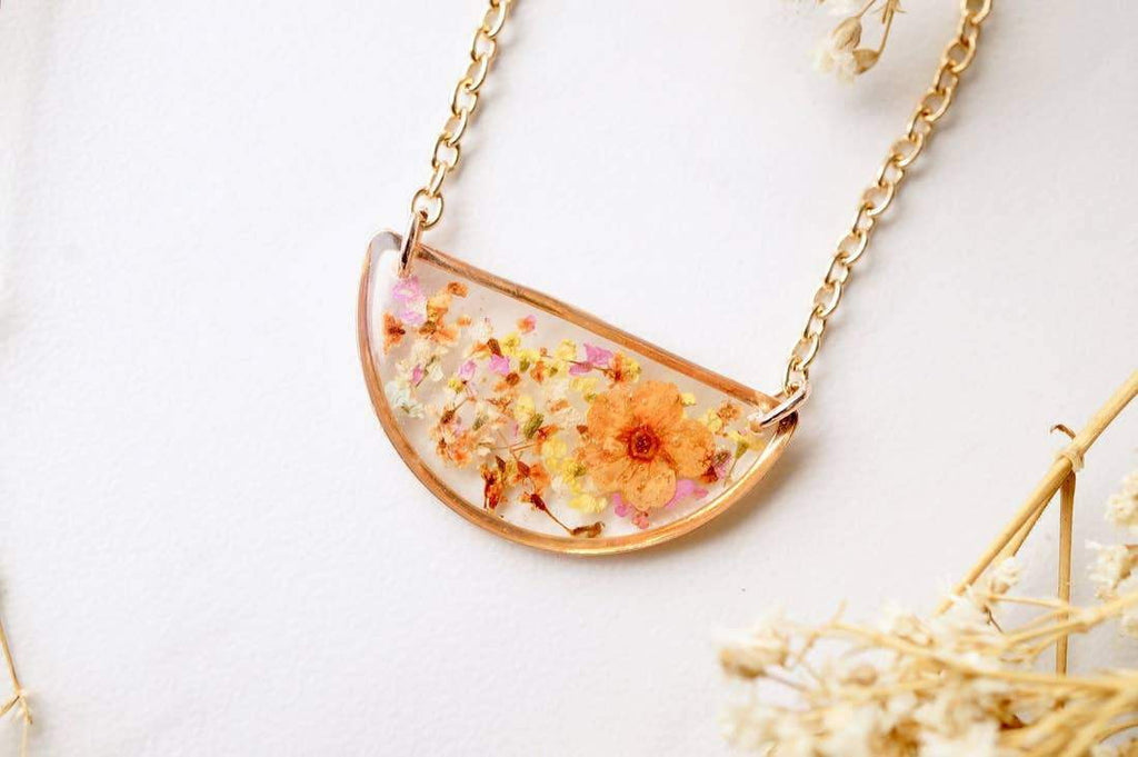 Half Circle Resin Necklace