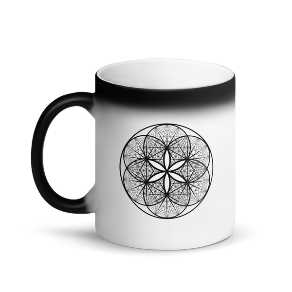 Magic Mug - Musical Seed of Life  -  *Color Changing* (white when Hot, black when Cold.)
