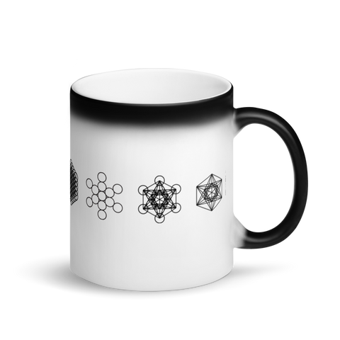 Magic Mug - Sacred Geometry Growth Sequence -  *Color Changing* (white when Hot, black when Cold.)