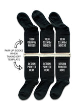 Load image into Gallery viewer, DTGsockprints - Pre-loaded and Ready to Print Black Cotton Crew Socks - Small, Medium, Large - Sold in 3 Quantity Variations