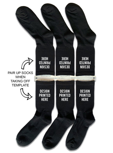 DTGsockprints - Pre-loaded and Ready to Print Black Cotton Crew Socks - Small, Medium, Large - Sold in 3 Quantity Variations