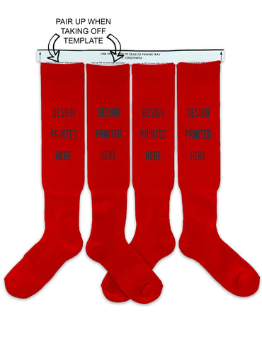 DTGsockprints - Pre-loaded and Ready to Print Red Cotton Sport Knee High Socks - Medium, Large - Sold in 3 Quantity Variations