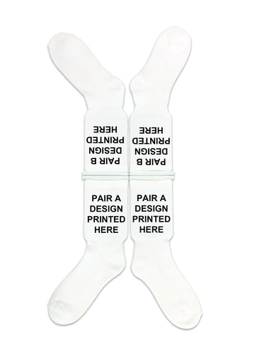 RICOH Ri 100 - DTGsockprints - Ready to Print White Cotton Crew Socks - Small, Medium, Large Sold in 2 Quantity Variations