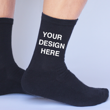 Load image into Gallery viewer, Black Cotton DTGsockprints Crew Socks by the Pair (6 pr minimum) - Small, Medium, Large